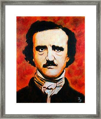 Framed Print featuring the painting Edgar Allan Poe by Bob Baker