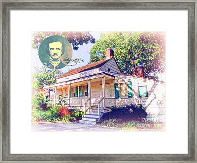 Edgar Allan Poe Cottage With Signature Framed Print