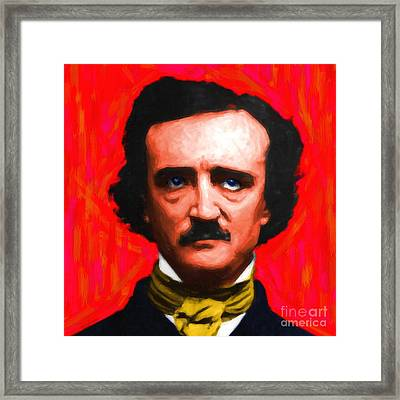 Edgar Allan Poe - Painterly - Square Framed Print by Wingsdomain Art and Photography