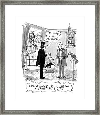 Edgar Allan Poe Returns A Christmas Gift Framed Print by Edward Frascino