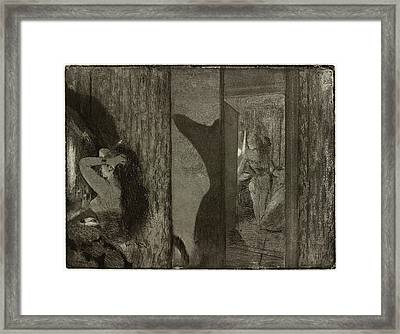 Edgar Degas, Actresses In Their Dressing Rooms Loges Framed Print by Litz Collection