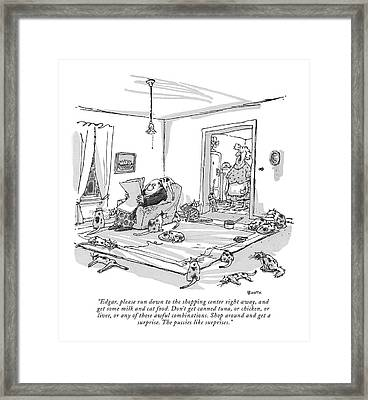 Edgar, Please Run Down To The Shopping Center Framed Print by George Booth
