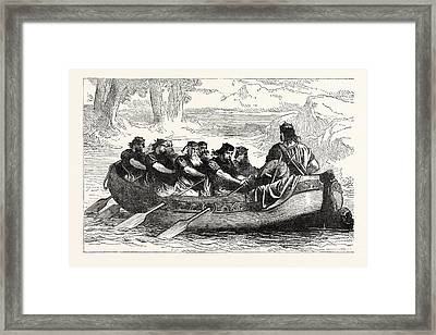 Edgar The Peaceable Being Rowed Down The Dee By Eight Framed Print by English School