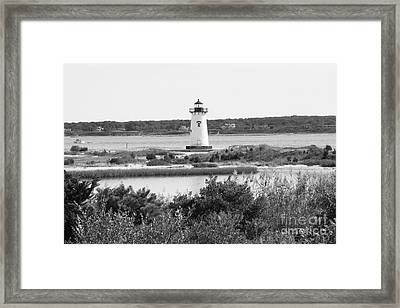 Edgartown Lighthouse - Black And White Framed Print