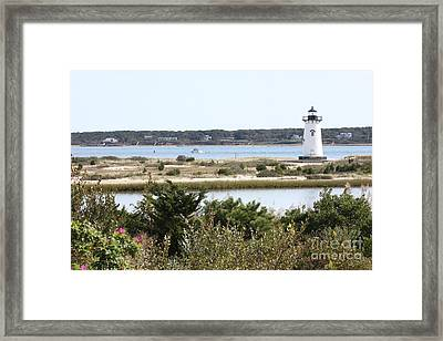 Edgartown Lighthouse With Wildflowers Framed Print by Carol Groenen
