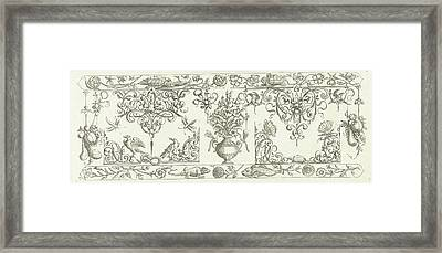 Edge Decoration Featuring Two Turtles, Michiel Le Blon Framed Print by Michiel Le Blon