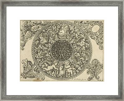 Edge Of Circular Plate With Leaf Tendrils Framed Print by Anthonie De Winter And C. De Moelder