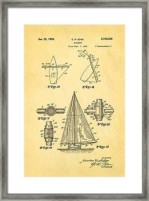 Edge Sailboat Patent Art 2 1938 Framed Print by Ian Monk