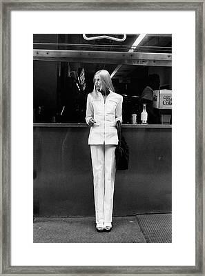 Edie Baskin Wearing A Pantsuit Framed Print by Berry Berenson