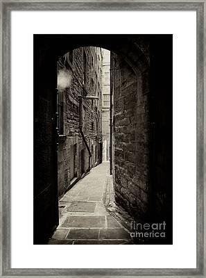 Edinburgh Alley Sepia Framed Print by Jane Rix
