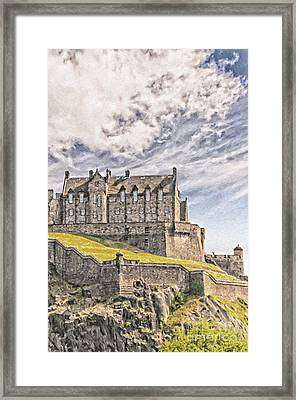 Edinburgh Castle Painting Framed Print