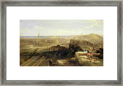 Edinburgh From The Castle Signed And Dated In Brown Paint Framed Print