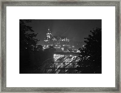 Edinburgh Night Rain Framed Print