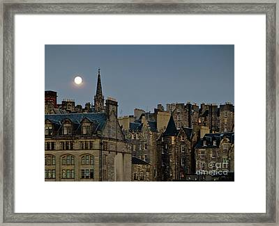 Edinburgh Old Town Skyline From Princes Street With The Spire Of Tron Kirk Dusk Evening Full Moon Framed Print by David Lyons
