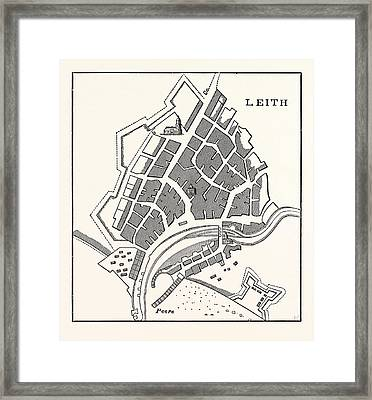 Edinburgh Plan Of Leith Showing The Eastern Fortifications Framed Print by English School