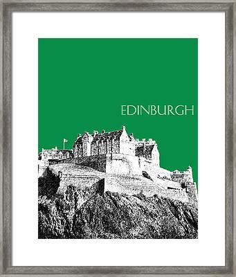 Edinburgh Skyline Edinburgh Castle - Forest Green Framed Print by DB Artist