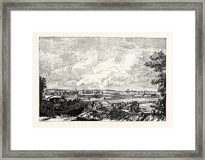 Edinburgh View Of Leith From The Eastern Road 1751 Framed Print