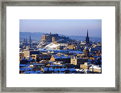Framed Print featuring the photograph Edinburgh Castle Winter by Craig B