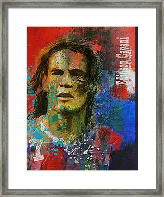 Edinson Cavani Framed Print by Corporate Art Task Force