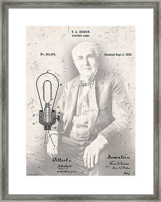 Edison And Electric Lamp Patent Framed Print by Daniel Hagerman