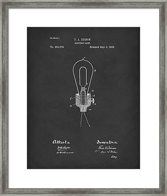 Edison Electric Lamp 1882 Patent Art Black Framed Print by Prior Art Design