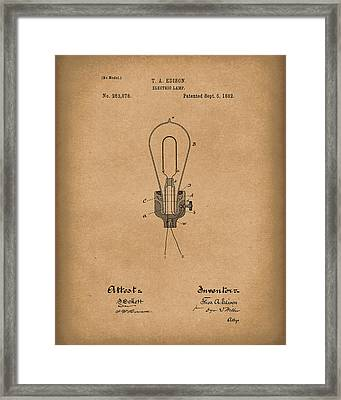 Edison Electric Lamp 1882 Patent Art Brown Framed Print by Prior Art Design