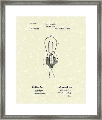 Edison Electric Lamp 1882 Patent Art Framed Print by Prior Art Design