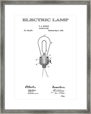 Edison Electric Lamp Patent  1882 Framed Print