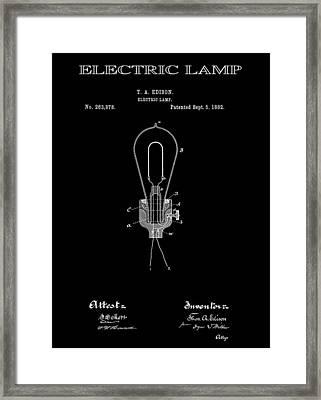 Edison Electric Lamp Patent 2  -  1882 Framed Print