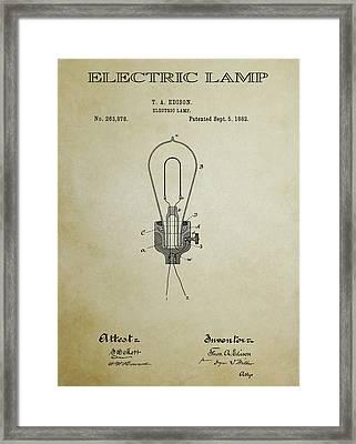 Edison Electric Lamp Patent 3 -  1882 Framed Print
