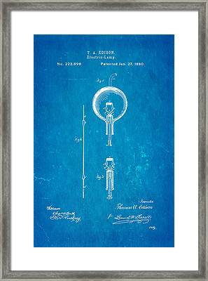 Edison Electric Lamp Patent Art 1880 Blueprint Framed Print by Ian Monk
