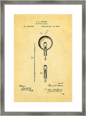 Edison Electric Lamp Patent Art 1880 Framed Print by Ian Monk