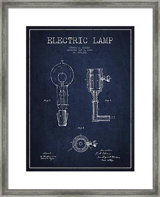 Edison Electric Lamp Patent From 1882 - Blue Framed Print by Aged Pixel