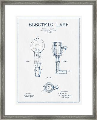 Edison Electric Lamp Patent From 1882  - Blue Ink Framed Print by Aged Pixel
