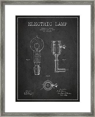 Edison Electric Lamp Patent From 1882 - Dark Framed Print by Aged Pixel