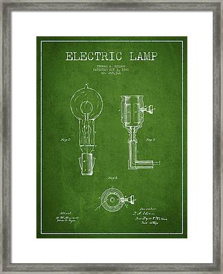 Edison Electric Lamp Patent From 1882 - Green Framed Print by Aged Pixel