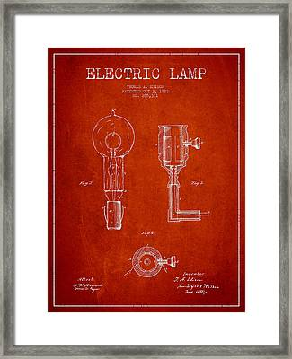 Edison Electric Lamp Patent From 1882 - Red Framed Print by Aged Pixel
