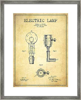Edison Electric Lamp Patent From 1882 - Vintage Framed Print by Aged Pixel