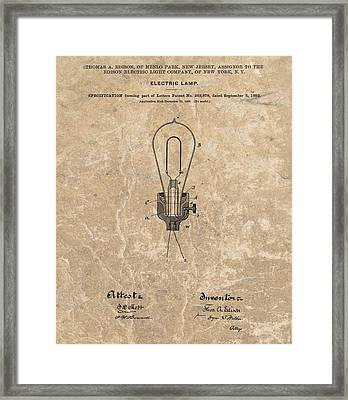 Edison Electric Lamp Patent Marble Framed Print by Dan Sproul