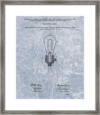 Edison Electric Lamp Patent Orginal File Framed Print by Dan Sproul
