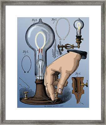 Edison Electric Light, Carbon Filament Framed Print by Science Source