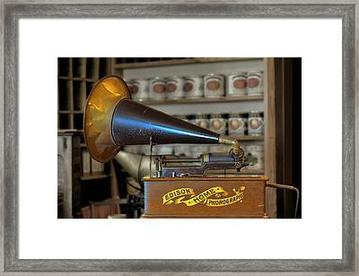 Edison Home Phonograph With Morning Glory Horn Framed Print