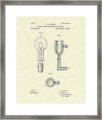 Edison Lamp 1882 Patent Art Framed Print by Prior Art Design