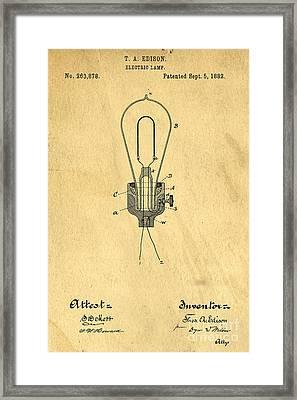 Edison Light Bulb Patent Art Framed Print