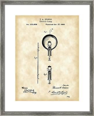 Edison Light Bulb Patent 1880 - Vintage Framed Print