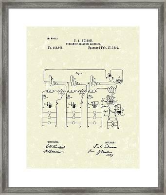 Edison Lighting System 1891 Patent Art Framed Print by Prior Art Design
