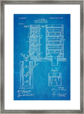 Edison Magnetic Separator Patent Art 1901 - Blueprint Framed Print by Ian Monk