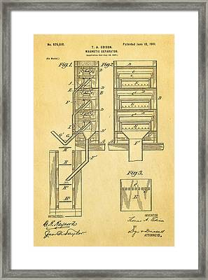 Edison Magnetic Separator Patent Art 1901 Framed Print by Ian Monk