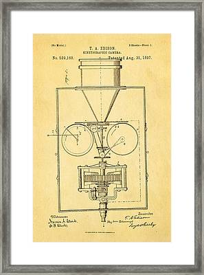 Edison Motion Picture Camera Patent Art 1897 Framed Print by Ian Monk