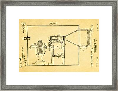 Edison Motion Picture Camera Patent Art 2 1897 Framed Print by Ian Monk